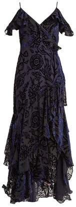 Peter Pilotto Deep V Neck Floral Devore Gown - Womens - Navy Print