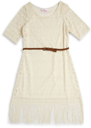 Bloome Girls 7-16 Crocheted Overlay Dress $52 thestylecure.com
