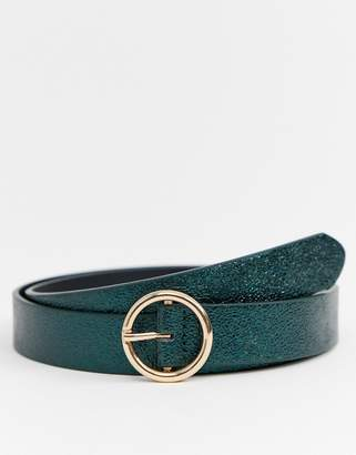 Asos Design DESIGN faux leather skinny belt in green with gold circle buckle
