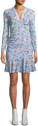Veronica Beard Rowe Bracelet-Sleeve Ruched Asymmetric-Placket Floral-Print Silk Dress