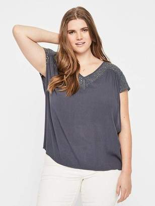 Junarose Short Sleeve Top Crepe Blouse in Ombre Blue Size 20