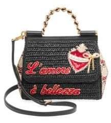 Dolce & Gabbana Borsa A Mano Chain Handle Raffia Crossbody