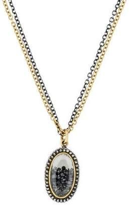 Moritz Glik Diamond & Sapphire Encased Pendant Necklace