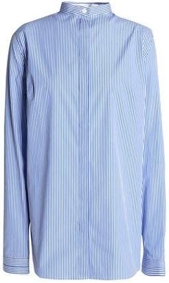 Dion Lee Ruched Cutout Striped Stretch Cotton-Poplin Shirt