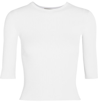 Vince - Ribbed Stretch-knit Top - White $255 thestylecure.com