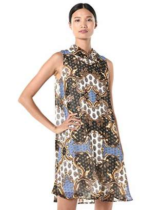Sharagano Women's Mock Neck Chiffon Dress