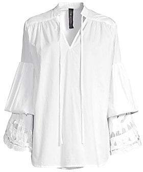 Romance Was Born Women's Broderie Bell Sleeve Tiered Eyelet Tunic