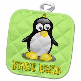 3dRose Free Hugs. Cute Penguin. Kids room decor. - Pot Holder, 8 by 8-inch