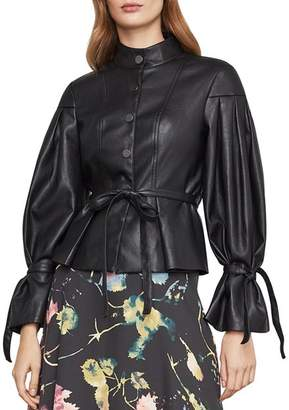BCBGMAXAZRIA Pleated-Sleeve Faux Leather Jacket