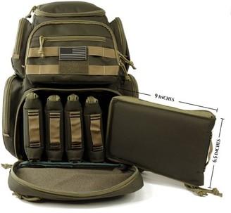 K Cliffs Lockable Range Backpack Heavy Duty Shooting Range Gear Rucksack Multi-Functional Pistol Pouches & Handgun Magazine Pockets High Quality Patriot Bag with US flag Patch Khaki