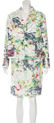 Christian Lacroix Christian Lacroix Collared Abstract Print Skirt Suit