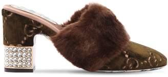 Gucci 75mm Candy Gg Velvet & Faux Fur Mules