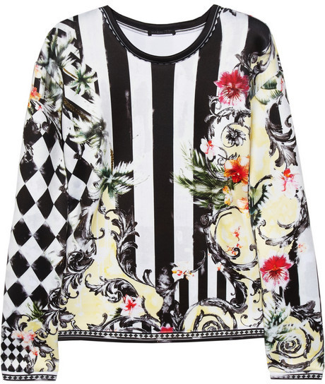 Balmain Printed stretch-satin jersey top