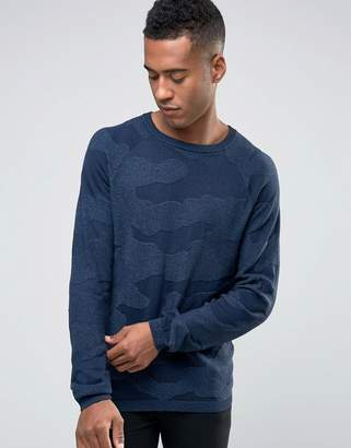 Jack and Jones Textured Camo Knitted Crew Neck Sweater