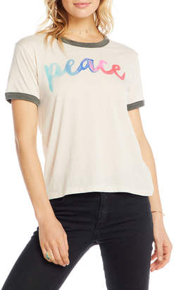 Chaser Painted Peace Short-Sleeve Contrast-Trim T-Shirt