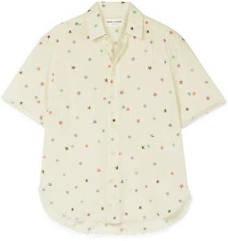 Saint Laurent Frayed Printed Cotton-voile Shirt