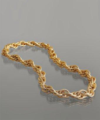 M+J Savitt gold rope chain chunky necklace