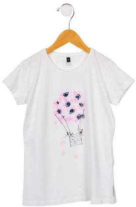 Armani Junior Girls' Graphic Print Short Sleeve T-Shirt