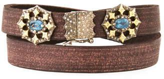 Armenta Old World Aquamarine & Diamond Crivelli Leather Wrap Bracelet