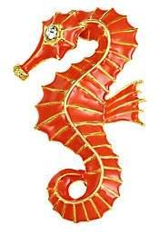 Kenneth Jay Lane Embellished Coral Seahorse Pin