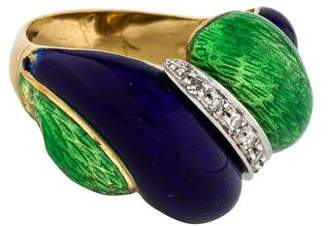 Ring 18K Diamond Enamel