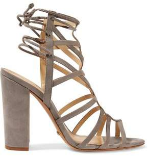 Schutz Loriana Cutout Suede Wedge Sandals