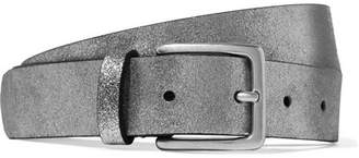 Andersons Anderson's - Metallic Textured-leather Belt - Silver