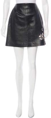 Saks Fifth Avenue Leather Laser Cut Skirt