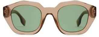 Burberry Angular Oval Acetate Sunglasses - Womens - Brown