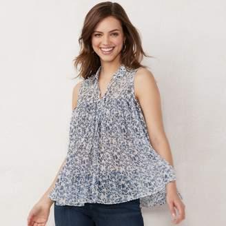 Lauren Conrad Women's Sleeveless Pleated Top
