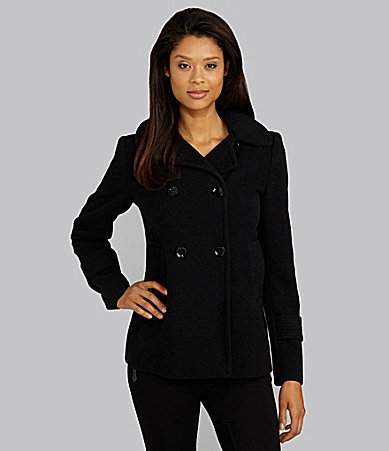 Calvin Klein Double-Breasted Hooded Peacoat