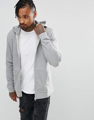 Asos DESIGN Zip Up Hoodie In Gray Marl