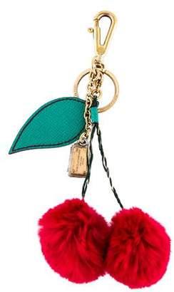 Dolce & Gabbana Fur-Trimmed Keychain w/ Tags