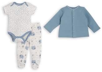 Chick Pea Baby Boy's 3-Piece Cotton Bodysuit, Footie Cardigan Set