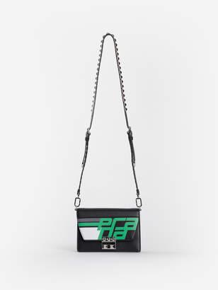 Prada WOMEN'S BLACK ELECTRA BAG WITH GREEN RACING LOGO