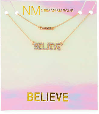 Lydell NYC Layered Crystal Believe Necklace