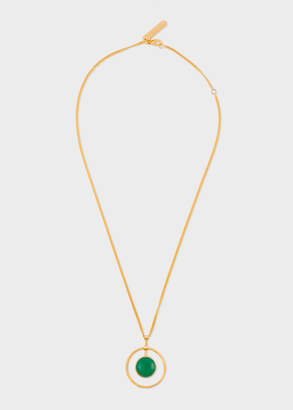 Paul Smith Rachel Entwistle + Gold Loop Necklace With Green Onyx Stone