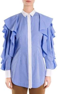 Sara Battaglia Striped Ruffle-Sleeve Blouse
