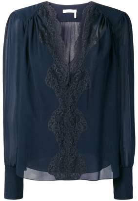 Chloé lace panel blouse