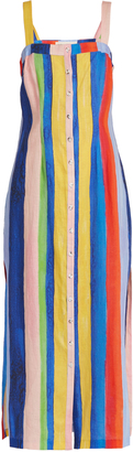 MARA HOFFMAN Rainbow Watercolour Stripe-print midi linen dress $405 thestylecure.com