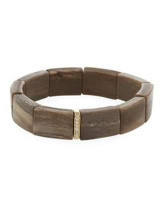Sydney Evan 14k Diamond Spacer & Rectangular Wood Bracelet