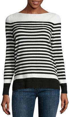 LIZ CLAIBORNE Liz Claiborne Long Sleeve Boat Neck Sequin Stripe Sweater $50 thestylecure.com
