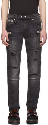 R 13 Black Moto Jeans