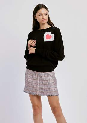 Emporio Armani Wool Blend Sweater With Heart-Shaped Inlay