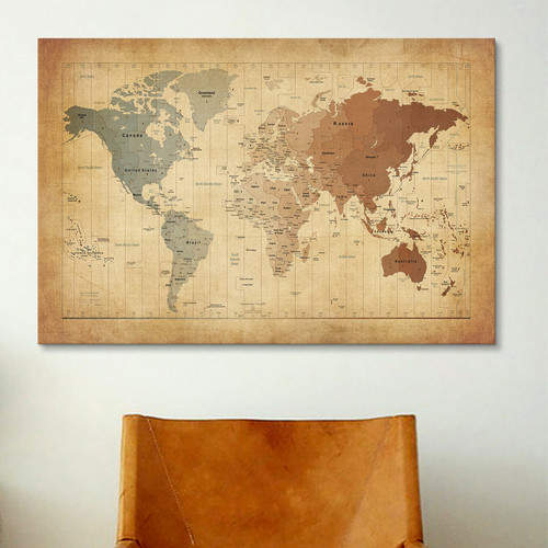 East Urban Home 'Map of the World III' Graphic Art Print Format: White Frame,