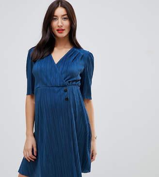Asos DESIGN Maternity mini plisse dress with button detail