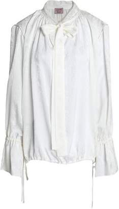 Lanvin Pussy-Bow Gathered Silk-Jacquard Blouse