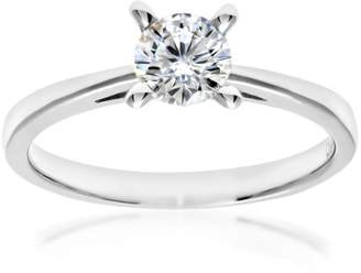 N. Naava Women's 18 ct White Gold V Prong Set H/VS2 EGL Certified Round Brilliant Cut 0.55 ct Diamond Solitaire Engagement Ring, Size M