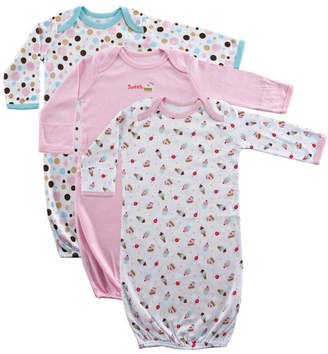 Baby Vision Luvable Friends Sleep Gowns, 3-Pack, Pink Cake, 0-6 Months