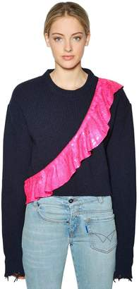 Filles a papa Sequined Ruffle Cropped Wool Sweater